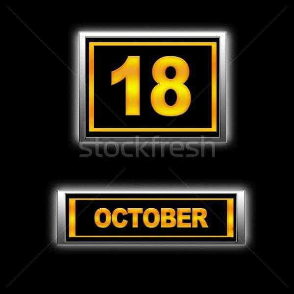 18 ilustração calendário educação preto agenda Foto stock © asturianu