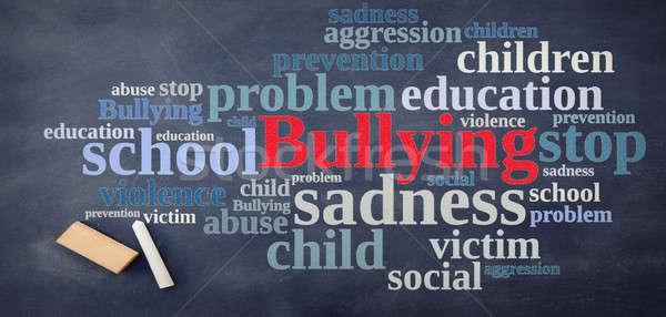 Iskolatábla megfélemlítés szófelhő gyerekek gyermek stop Stock fotó © asturianu