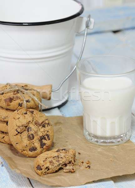Stack of cookies with glass of milk Stock photo © asturianu