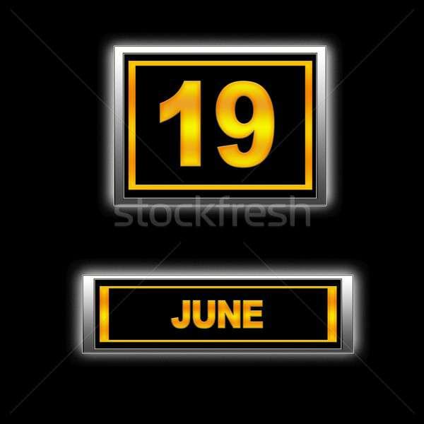 19 иллюстрация календаря образование черный повестки Сток-фото © asturianu