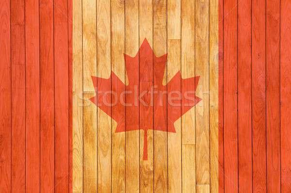 Kanada zászló fából készült régi fa fa asztal Stock fotó © asturianu