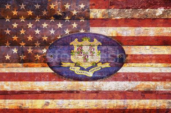Bandeira Connecticut ilustração projeto assinar Foto stock © asturianu