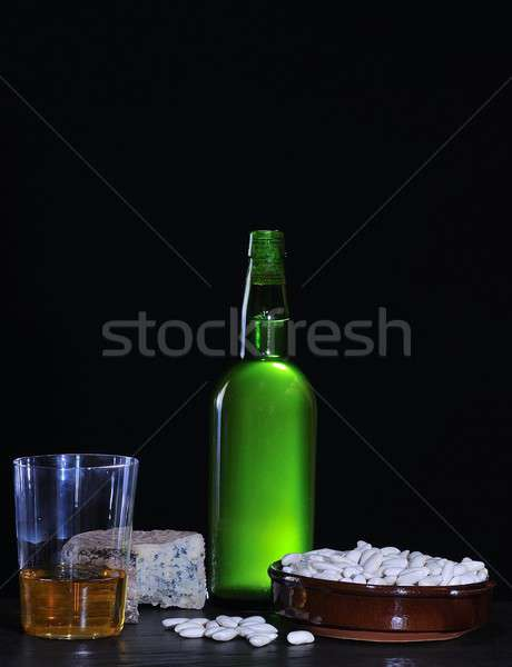 Cider bottle and beans.  Stock photo © asturianu