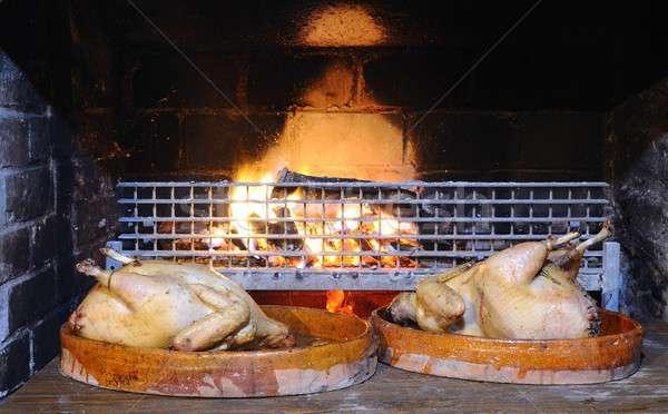 Turquie préparé four feu poulet viande Photo stock © asturianu