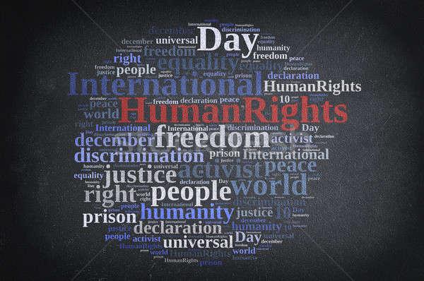 Uluslararası insan hakları gün kelime bulutu örnek tahta Stok fotoğraf © asturianu