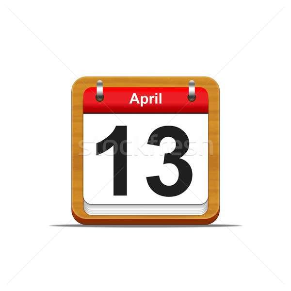13 illusztráció elegáns fából készült naptár fehér Stock fotó © asturianu