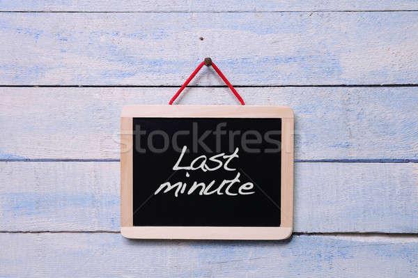 Ultimo minuto lavagna muro legno Foto d'archivio © asturianu