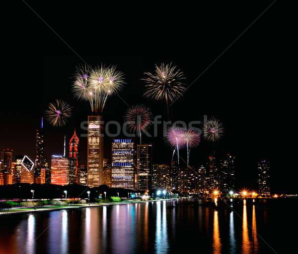 Chicago night skyline with fireworks, Usa. Stock photo © asturianu