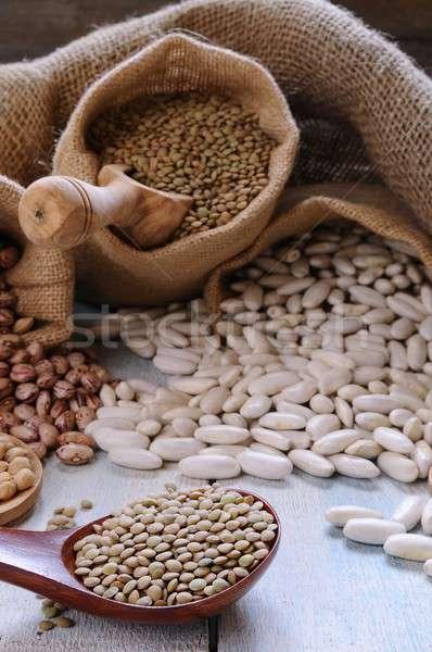 Közelkép különböző gabonafélék textil szatyrok kanál Stock fotó © asturianu
