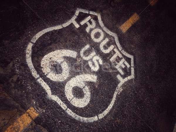 Ruta 66 signo histórico edad carretera madre Foto stock © asturianu
