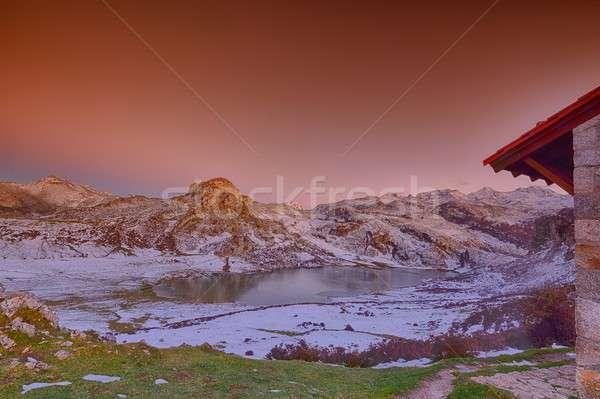 Panoramic view of Lake Ercina with snow in Asturias. Stock photo © asturianu