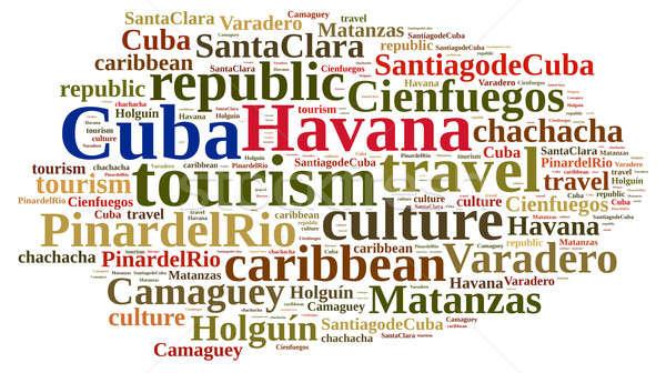 Kuba turystyki chmura słowo wyspa działalności tle Zdjęcia stock © asturianu