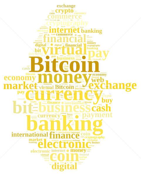 Nuvem da palavra bitcoin ilustração dinheiro teia banco Foto stock © asturianu