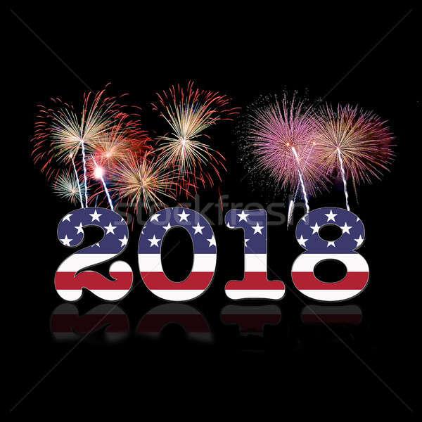 USA új év illusztráció boldog új évet 3D renderelt kép Stock fotó © asturianu