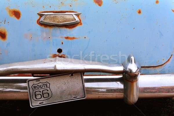 Rozsdás elhagyatott autó Route 66 acél USA Stock fotó © asturianu