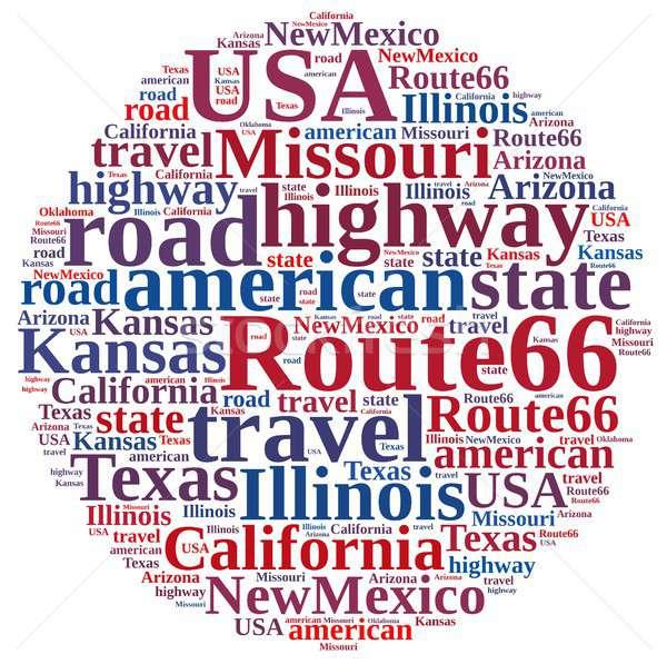 Nuvem da palavra route 66 ilustração assinar viajar gráfico Foto stock © asturianu