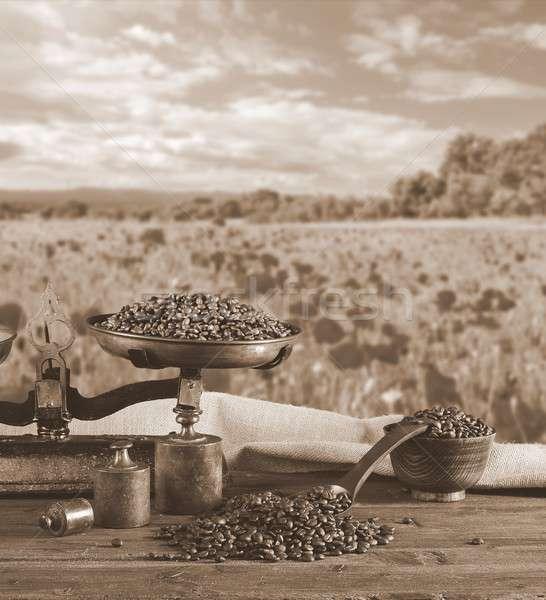 Coffee with scale and coffee beans. Stock photo © asturianu