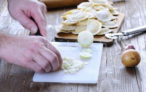 Fraîches ravioli table de cuisine dîner repas Photo stock © asturianu