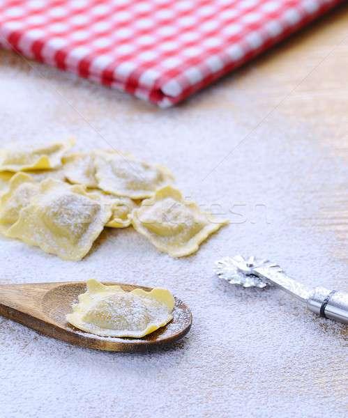Fresco ravioli comida cozinha tabela Foto stock © asturianu