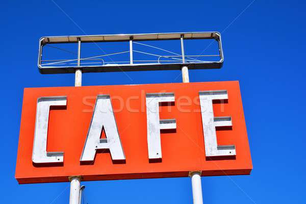 Stock photo: Cafe sign in Texas.