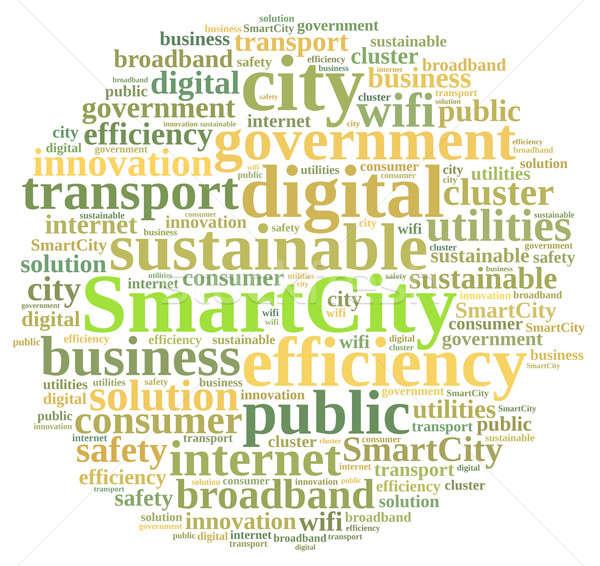 Smart город иллюстрация слово облако бизнеса зеленый Сток-фото © asturianu