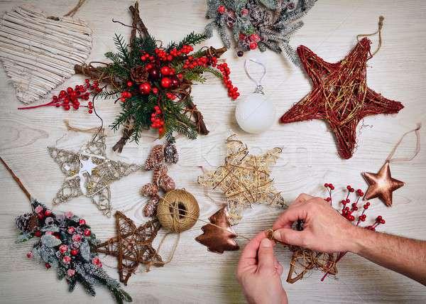 Weihnachten Dekoration Dekorationen home Holz Hintergrund Stock foto © asturianu