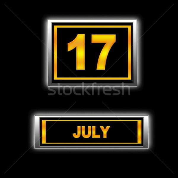 17 ilustración calendario educación negro programa Foto stock © asturianu
