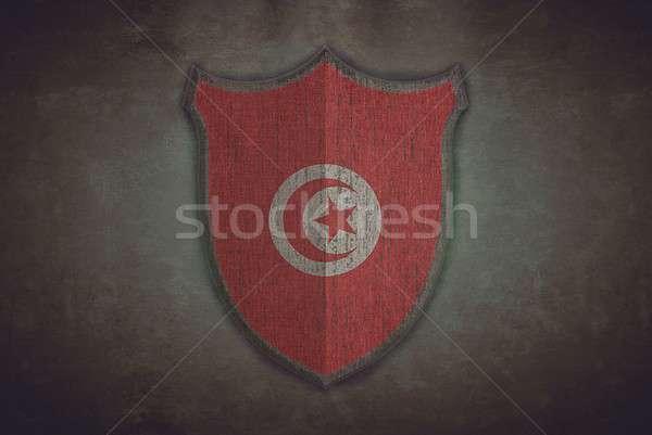 Shield with Tunisia flag. Stock photo © asturianu