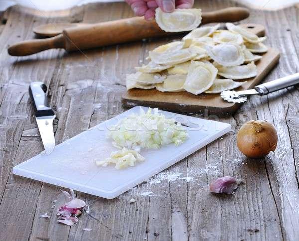 Fresco ravioli jantar refeição alho Foto stock © asturianu