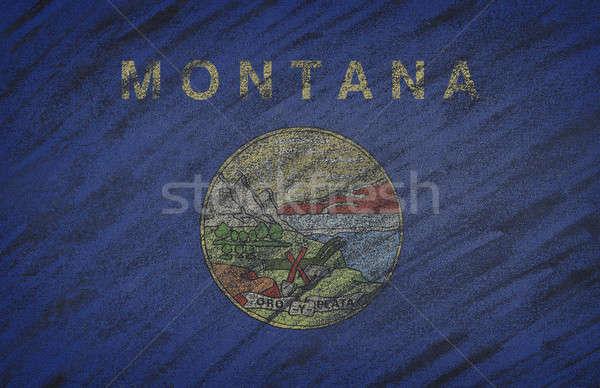 Montana zászló festett színes kréta iskolatábla Stock fotó © asturianu