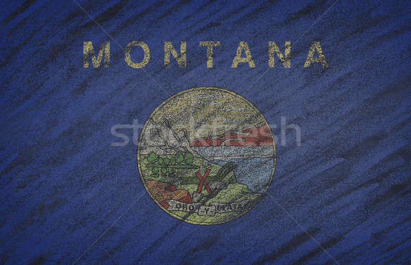 Montana flag painted with colored chalk on a blackboard.  Stock photo © asturianu
