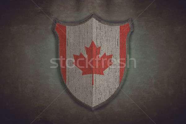 Escudo Canadá bandeira ilustração velho projeto Foto stock © asturianu