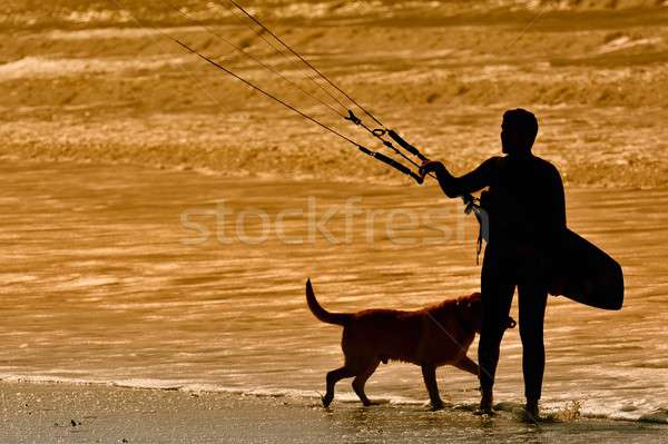 Kitesurfer at sunlight. Stock photo © asturianu