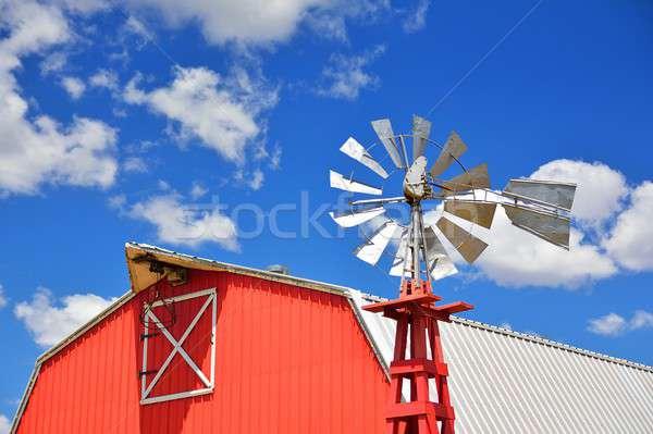 Moinho de vento agrícola fazenda EUA Oklahoma céu Foto stock © asturianu