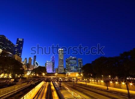 Chicago noite linha do horizonte EUA silhueta Foto stock © asturianu