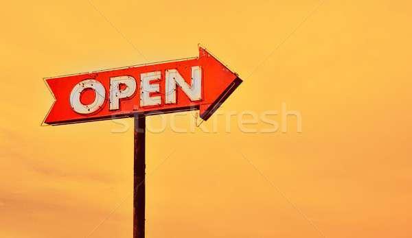 Open neon sign at sunset. Stock photo © asturianu
