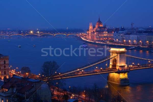 Panorama Budapest Ungheria catena ponte parlamento Foto d'archivio © asturianu