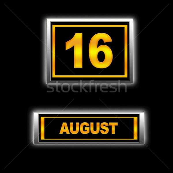 Agosto 16 illustrazione calendario istruzione nero Foto d'archivio © asturianu