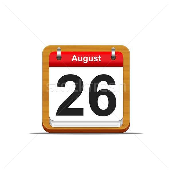 Agosto 26 illustrazione elegante legno calendario Foto d'archivio © asturianu