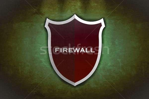 Firewall tarcza ilustracja czarny zielone Internetu Zdjęcia stock © asturianu