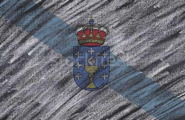 Galicië Blackboard vlag geschilderd krijt ontwerp Stockfoto © asturianu