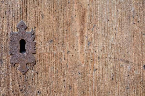 Metal anahtar deliği ahşap kapı dekoratif Stok fotoğraf © asturianu