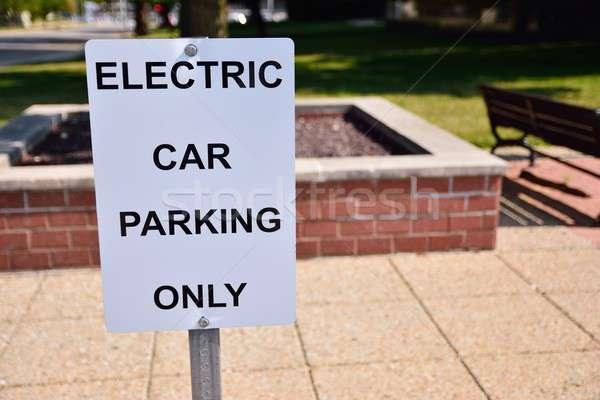 Parkolás elektromos járművek felirat feketefehér út Stock fotó © asturianu