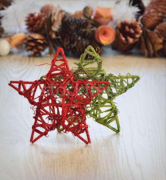 Noel Yıldız dekorasyon yeşil kırmızı Stok fotoğraf © asturianu