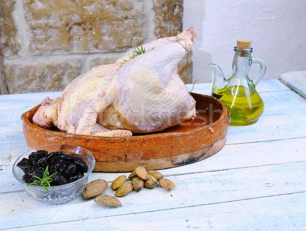 Turquía preparado mesa de madera cocina pollo carne Foto stock © asturianu