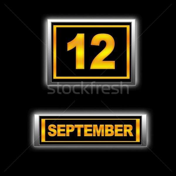 12 illustratie kalender onderwijs zwarte agenda Stockfoto © asturianu