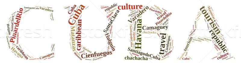 キューバ 観光 言葉の雲 島 自然 旅行 ストックフォト © asturianu
