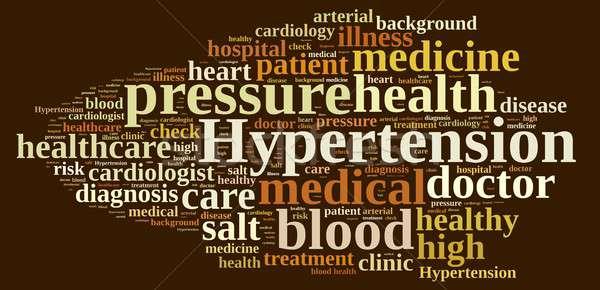 Magas vérnyomás illusztráció szófelhő orvosi szív vér Stock fotó © asturianu