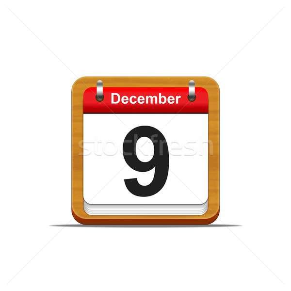 December illusztráció elegáns fából készült naptár fehér Stock fotó © asturianu