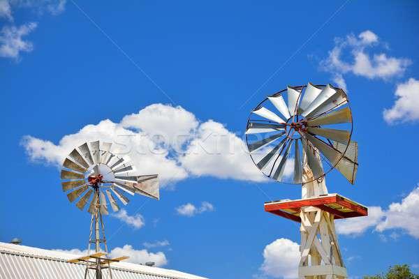 Dwa wiatrak rolniczy gospodarstwa USA Oklahoma Zdjęcia stock © asturianu